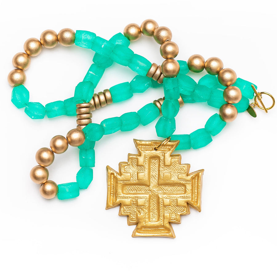 Green African Glass with Jerusalem Cross Necklace