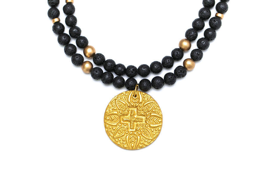 Double Strand Black Lava with Grace Cross Necklace