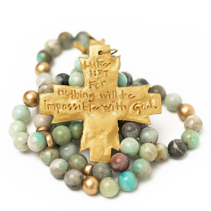 Amazonite Double Strand with Freedom Cross Necklace