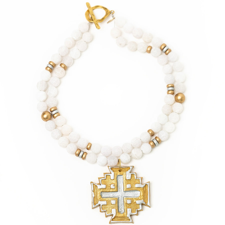 White Crackled Agate Double Strand with Silver & Gold Jerusalem Cross