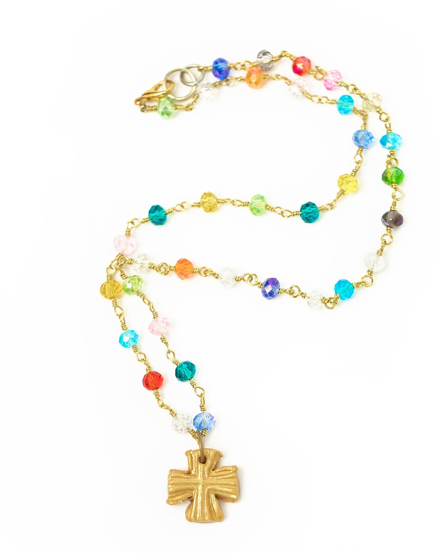 Multicolored and Gold Chain with Julia Blair Cross