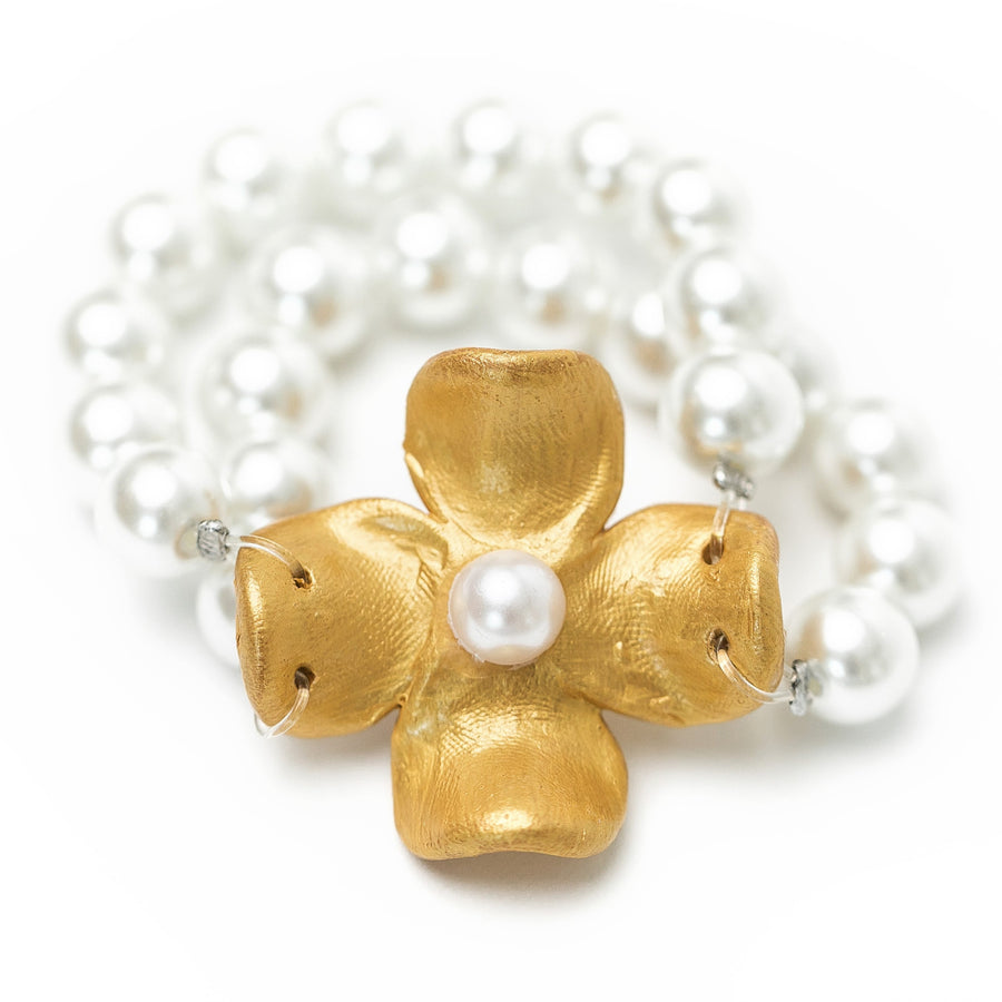 Pearl Double Strand with Dogwood Flower Bracelet