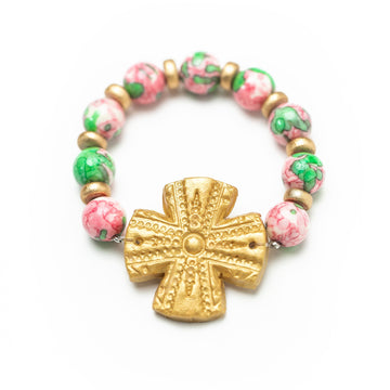 Pink & Green Rainflower Jade with Rachel Cross Bracelet