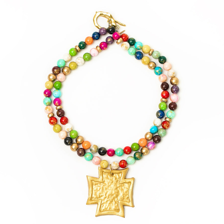 Multicolored Double Strand with Neal Cross Necklace