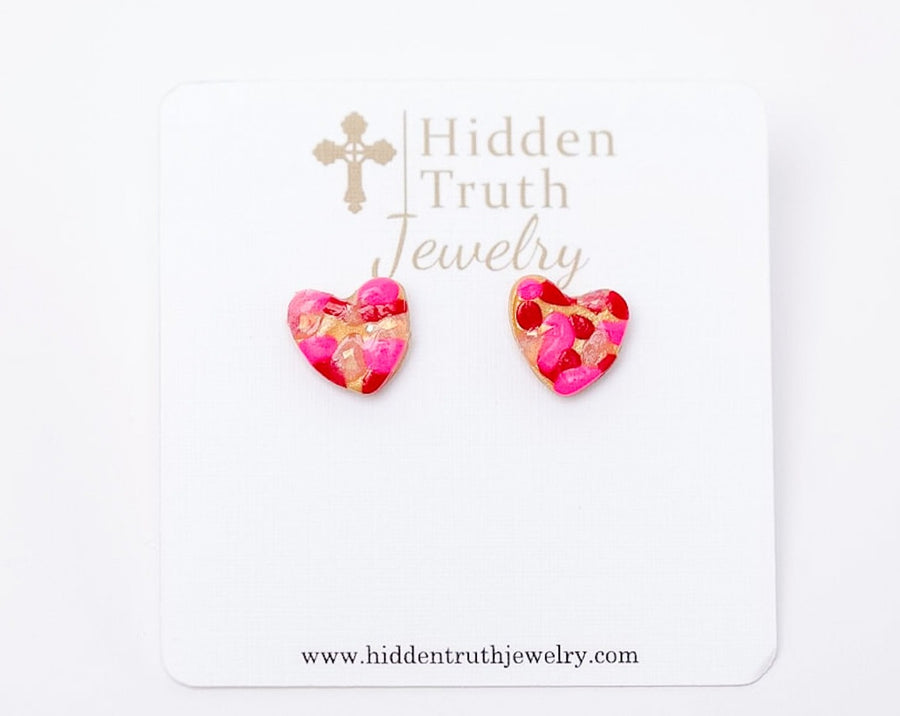 Pink & Red Confetti Heart Studs