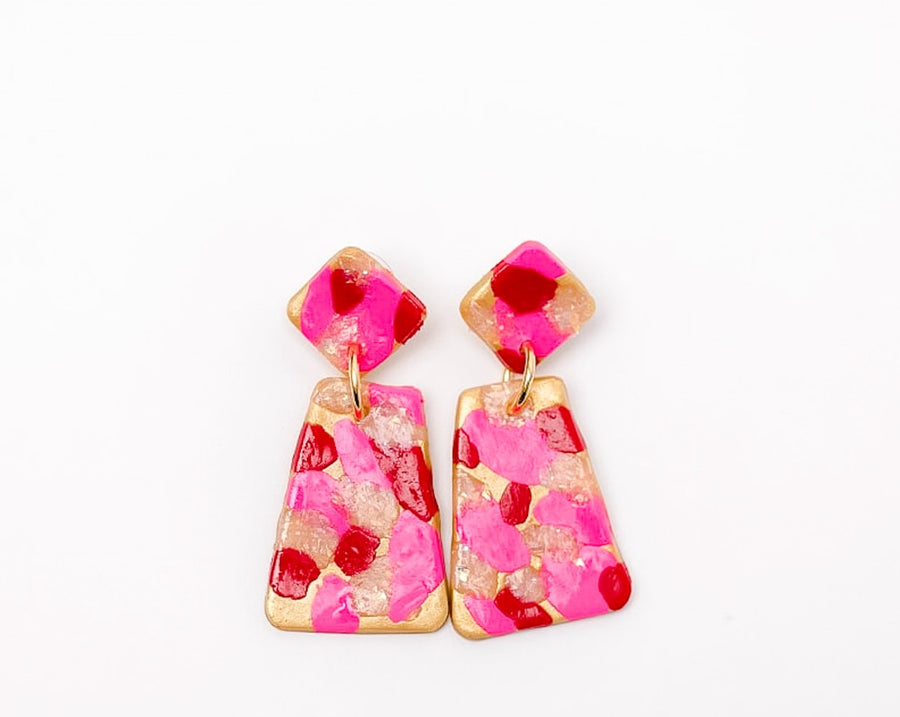 Pink, Red & White Confetti Dangles