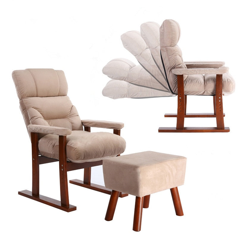 Surprising Japanese Style Upholstery Furniture Wood Sofa Armchair Ottoman Living Room Modern Reclining Relax Accent Arm Chair W Foot Stool Pabps2019 Chair Design Images Pabps2019Com