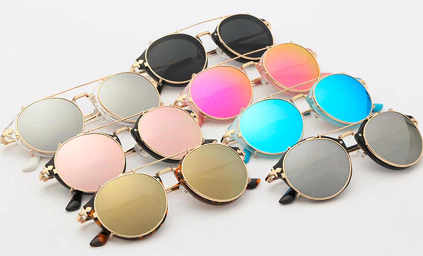 235a2f69e8 Sunglasses Vintage Women Round Steampunk Flip and separable lens ...