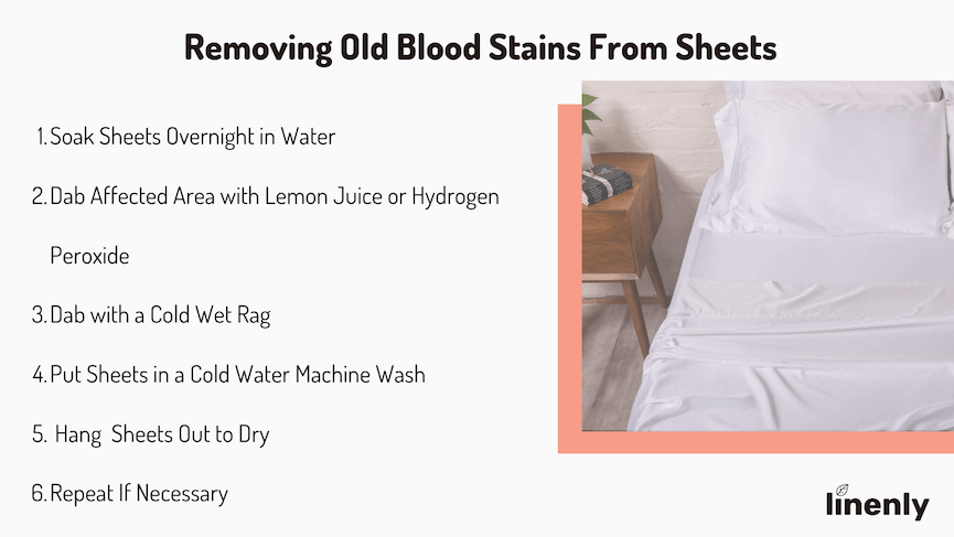 how to remove old blood stains from bedding