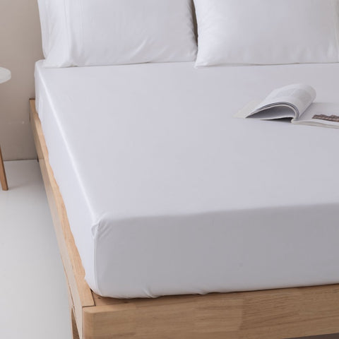 100% Organic Bamboo Fitted Sheet & Pillowcases - White / Queen - Fitted Sheet Set