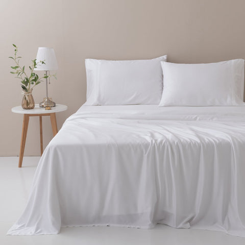 100% Organic Bamboo Sheet Set - White / Queen - Sheet Set