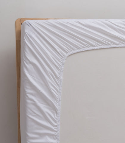 linenly bamboo fitted sheet - white