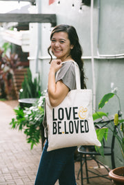 LOVE & BE.LOVED Gold Tote Bag