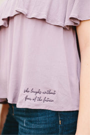 """She laughs without fear"" Off-Shoulder Ruffle Top"