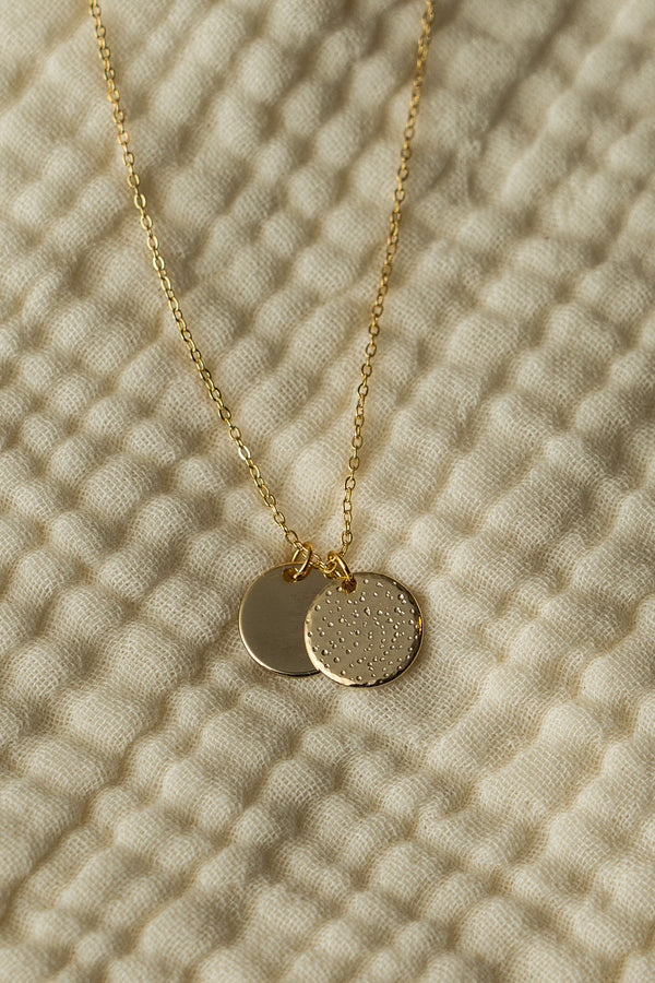 REFINED GOLD Stamped Disc Necklace