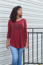 Strength + Dignity 3/4 Sleeve Top