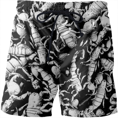 BLACK AND WHITE SCORPION PRINT MEN'S SWIMSUIT.