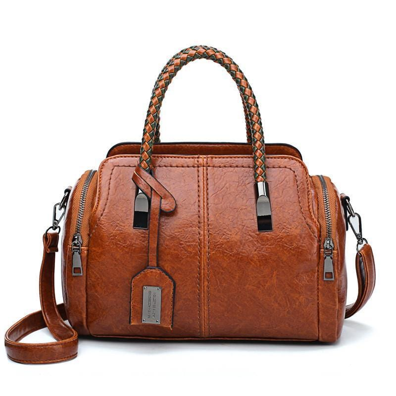 Vintage Genuine Leather Solid Rivet Female Handbags