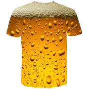 New Man Fashion 3D Print Beer Bubble O-Neck Short Sleeve T-Shirt Summer