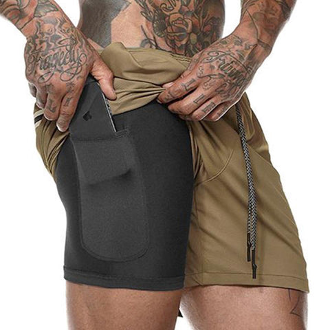 2019 Men's 2 in 1 New Summer Secure Pocket Shorts-(BUY 2 FREE SHIPPING)