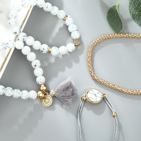 Fashion trend four-piece tassel bracelet for Women Girls