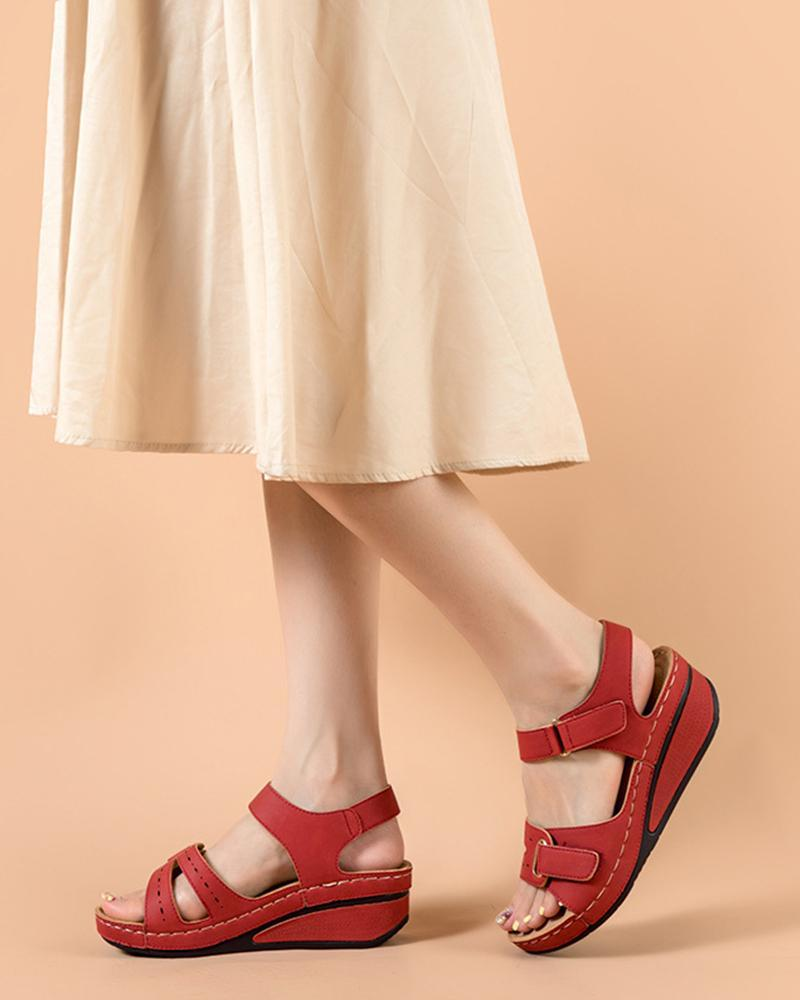 Comfortable Open Toe Hollow Wedge Sandals