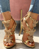 Butterfly Studded Strap Buckled Thin Heels