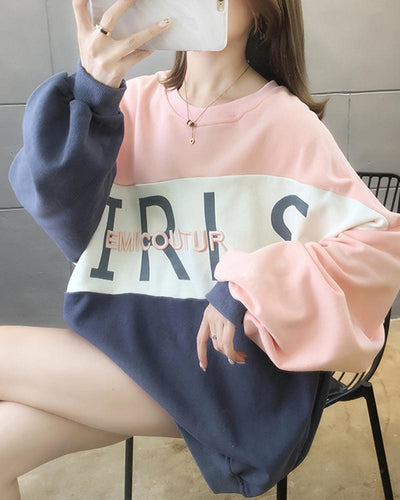 Colorblock Print Long Sleeve Loose Sweatshirts