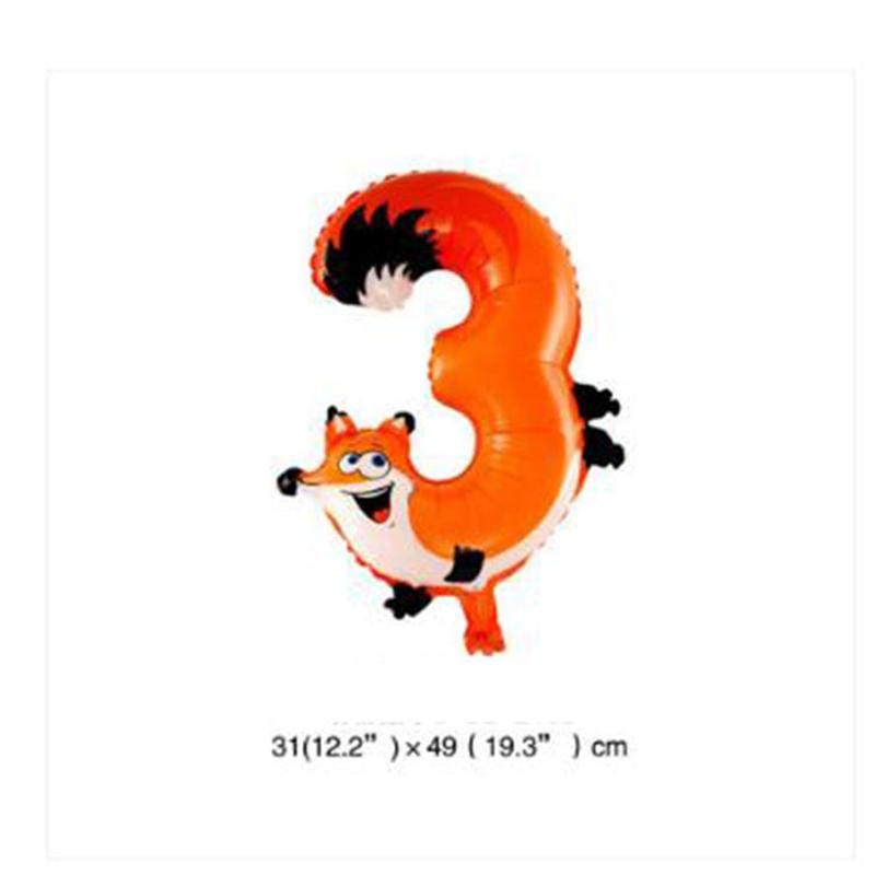 1PCS Animals Number Foil Balloons