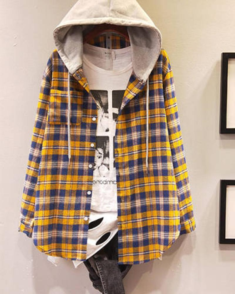 Grid Hooded Velvet Loose Shirt Coat