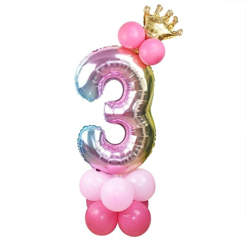 1set 32inch Rainbow Foil Number Balloon with Crown