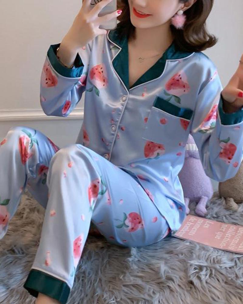 Satin Two-Piece Pajama Set