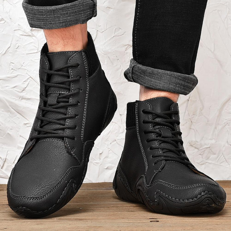 Men's Handmade Leather Comfy Soft Sock Ankle Boots