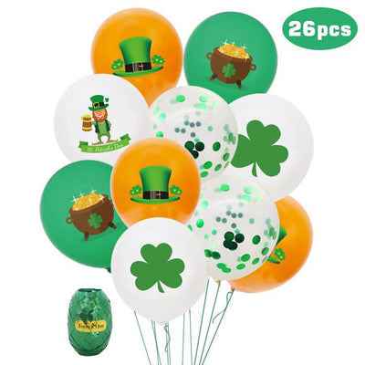 26pcs St. Patrick's Day Clover Party Decoration Sequined Latex Balloons