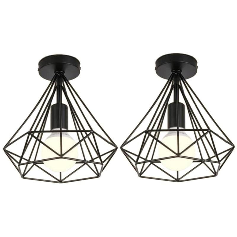 2Pcs Ceiling Light Industrial Cage Shape Diamond Black Chandelier Suspension Metal Iron Fixture For Kitchen Corridor