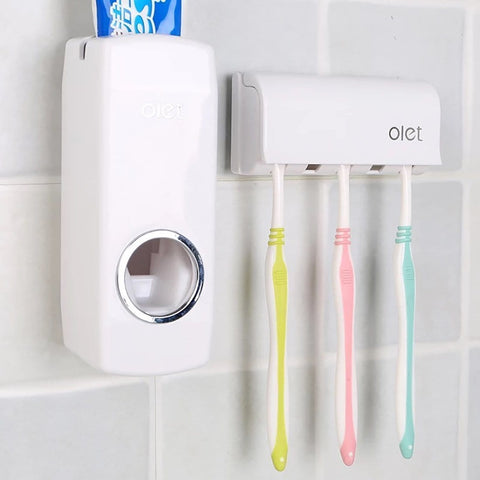 Wall Mount Toothbrush Holder and Toothpaste Dispenser