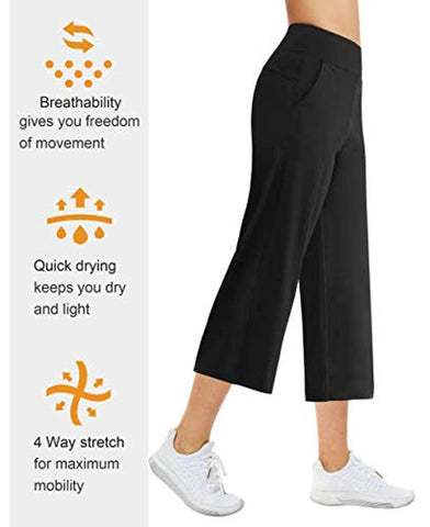 Yoga Capris Pants for Women Tummy Control High Waist Workout Flare Crop Pants with Pockets