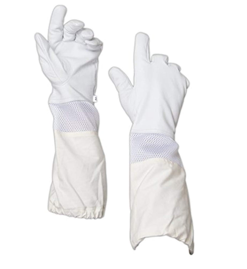 Beekeeping Premium Goatskin Leather Beekeeper's Glove with White Vent Long Canvas Sleeve with Elastic Cuff