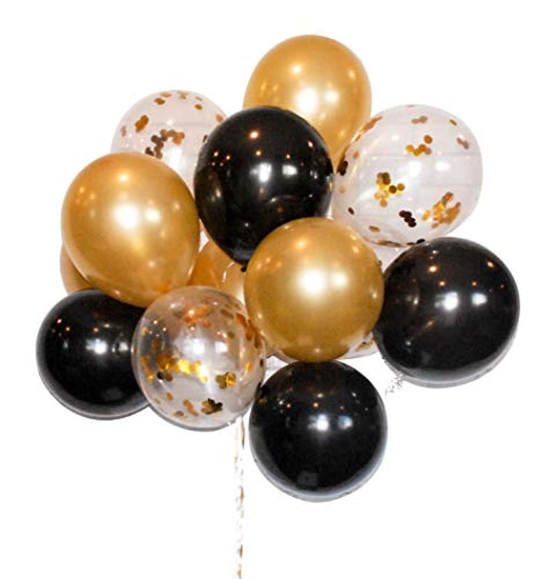 Gold Confetti 12 inch Latex Balloons Bulk Set 40 (Gold, Black, Clear Balloon with confetti)