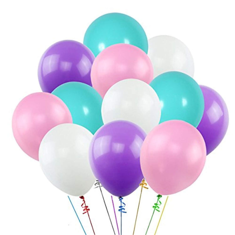 12 Inch Balloons White Purple Pink Blue (100 Pcs)