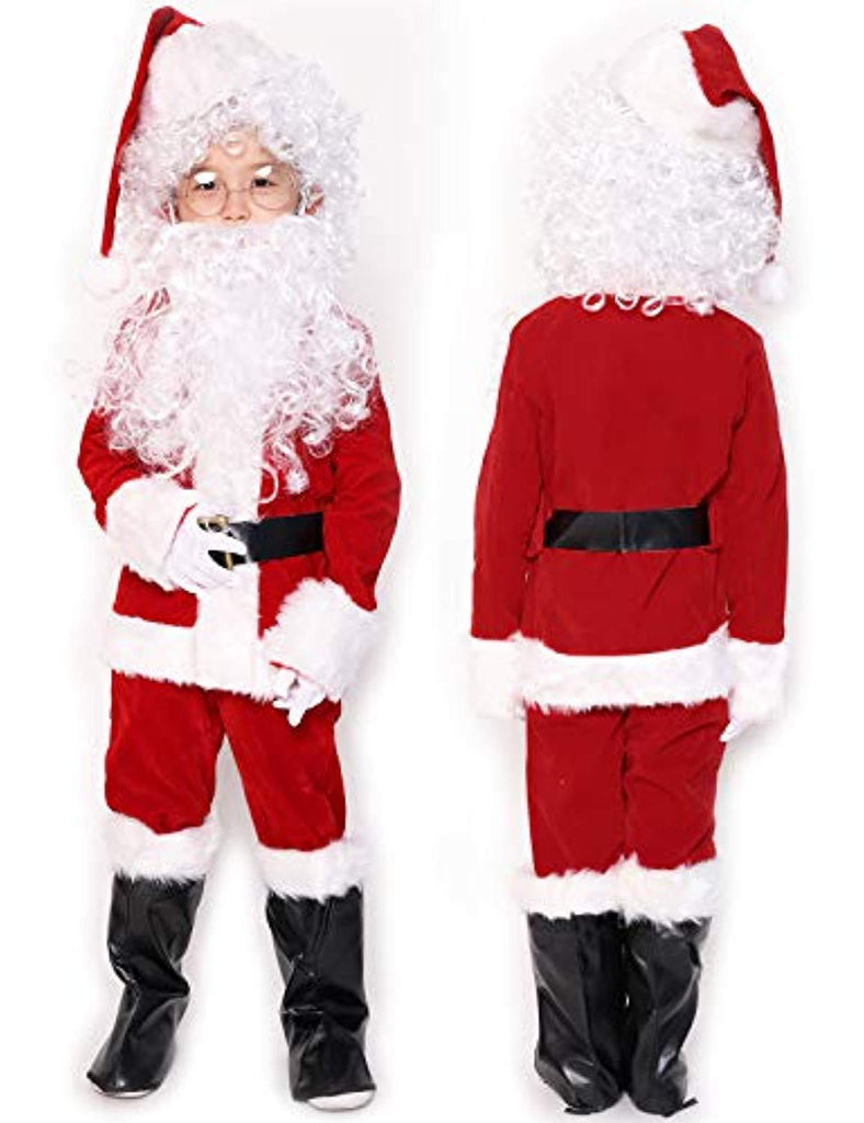 Children's Deluxe Santa Suit 10pc. Christmas Child Santa Claus Kids Halloween Costume Cosplay