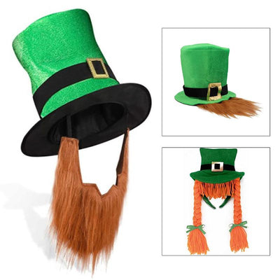 Saint Patricks Day Green Hat With Beard And Braid