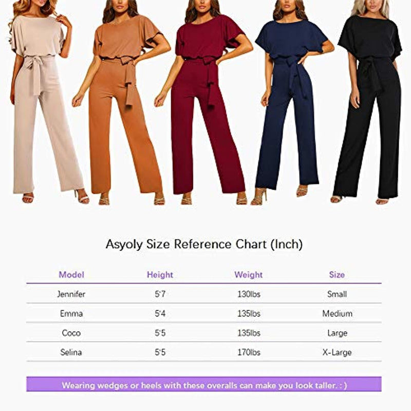 Women Casual Batwing Sleeve Crew Neck Long Pants Loose Wide Legs Jumpsuits Overalls
