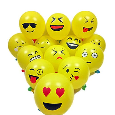 "12"" Emoji Smiley Face Expression Yellow Latex Balloons-50 Count"