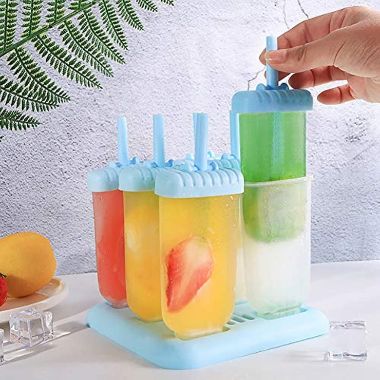 Reusable Popsicle Molds Ice Pop Molds Maker - Set of 6