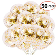 50pcs Gold Confetti Balloons, 12 Inch Latex Party Balloons