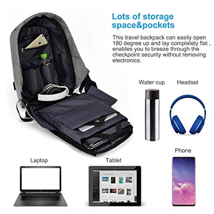 Travel Laptop Backpack, OBDATOR Durable Anti Theft Business Backpack College School Computer Bag with USB Charging Port Waterproof Bag for Women & Men