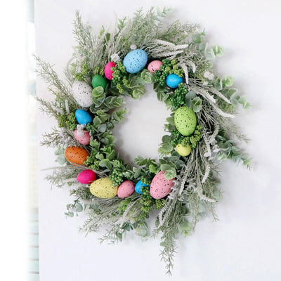 Easter Wreath With Artificial Eggs Flowers For Indoor Outdoor Decoration