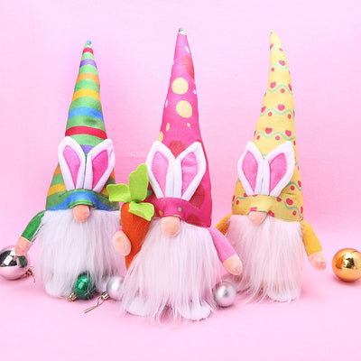 Lovely Plush Bunny Gnome Doll For Easter Home Decoration