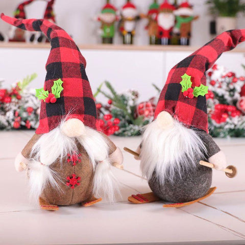 Handmade Skiing Gnome Dolls Couple For Holiday Gift And Decoration